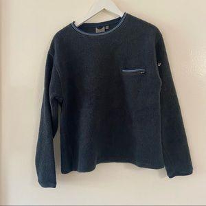 Horny Toad Sweater Fleece Sweatshirt Navy Blue Long Sleeve Crewneck Sherpa